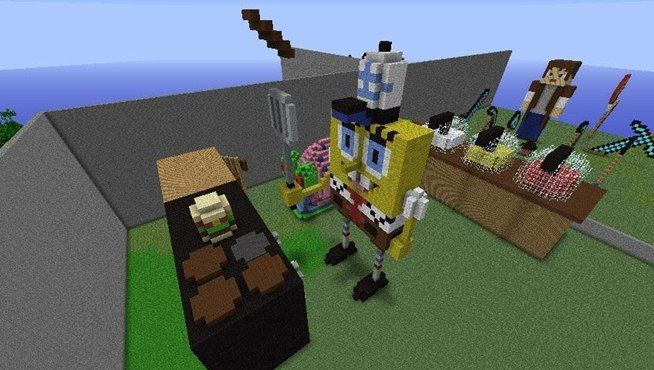 Spongebob minecraft build minecraft build pinterest for Easy homes to build