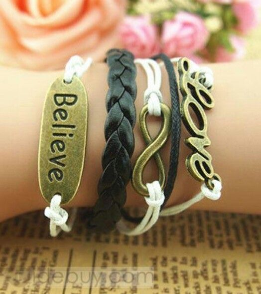 Believe love multi_layer leather breslats for teen age girls