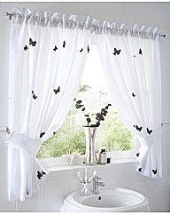 Butterflies Lined Voile Curtain Set