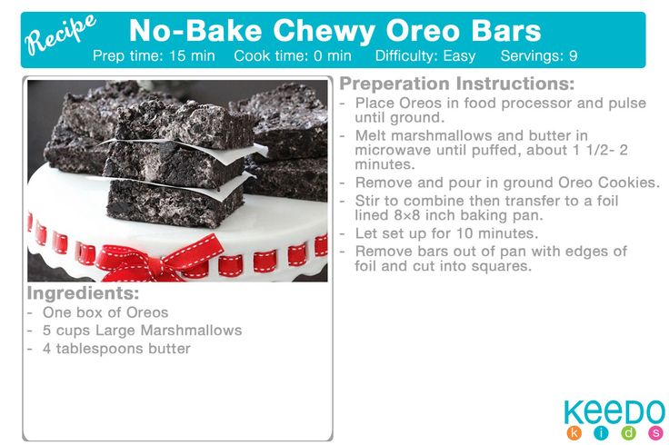 No-bake Oreo Bars http://picky-palate.com/2011/03/17/no-bake-chewy-cookies-and-cream-bars/