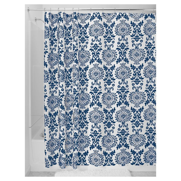 Damask Fabric Shower Curtain Stall