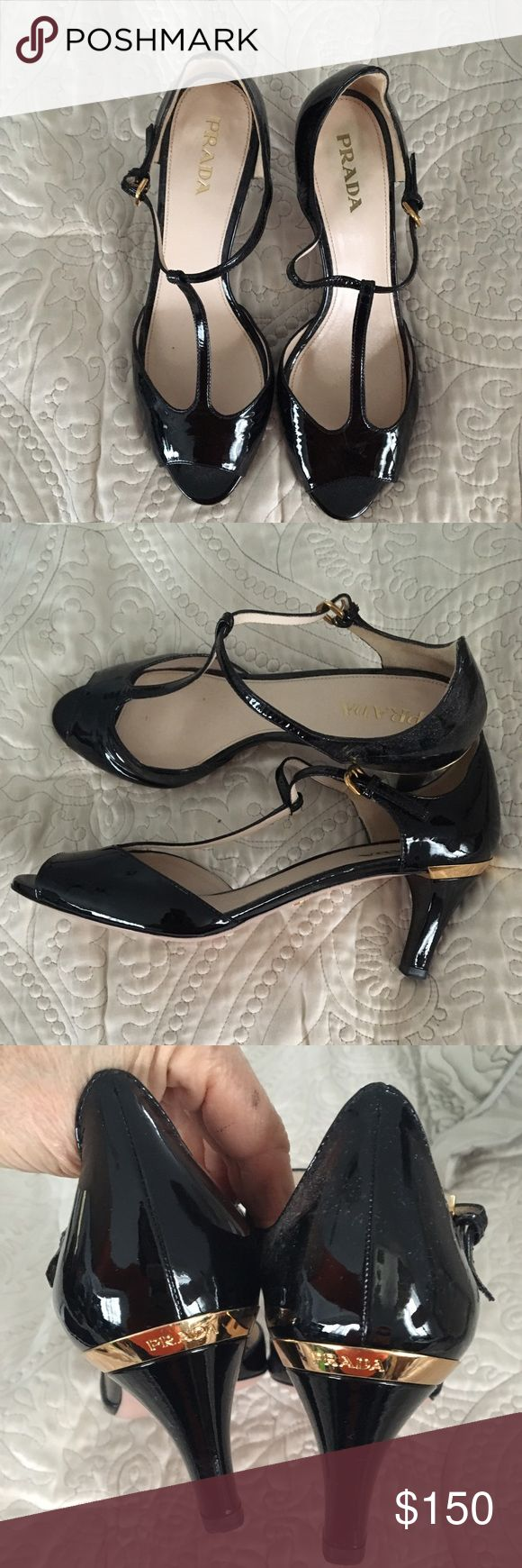 Prada peep toe black patent leather shoes heels 9 Prada black patent with gold trim on heel and t strap at ankle size 39 / 9 preowned in excellent shape Prada Shoes Heels