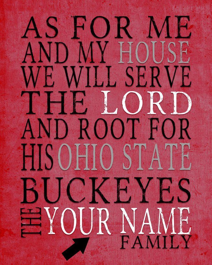 "Ohio State Buckeyes Customized Art Print- ""As for Me"" Parody- Unframed Print"