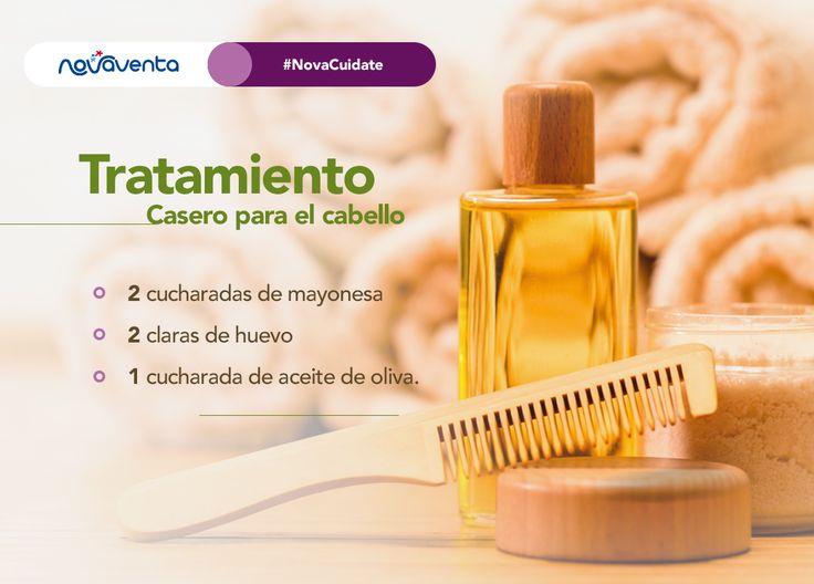 ¡Cuídate con los ingredientes que tienes en casa! Aplica esta mascarilla en tu cabello, masajea unos minutos y enjuaga. ¡Súper fácil y sin salir de tu cocina!  #NovaCuídate.