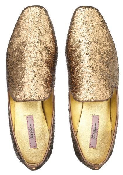 Ted Baker gold glitter flats
