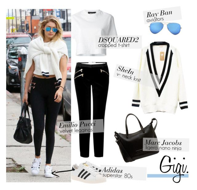 Style Steal: Gigi by mplusk on Polyvore featuring Dsquared2, Emilio Pucci, adidas Originals, Marc by Marc Jacobs and Ray-Ban