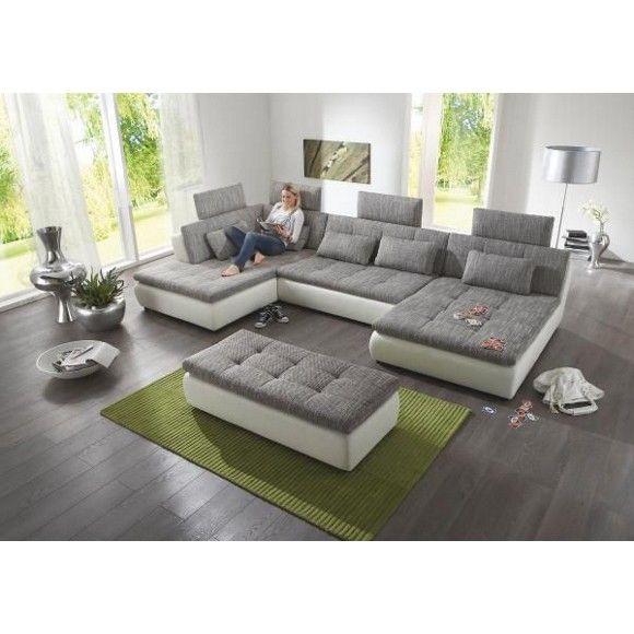 Fesselnd WOHNLANDSCHAFT In Grau, Weiß Textil   Wohnlandschaften   Polstermöbelu2026