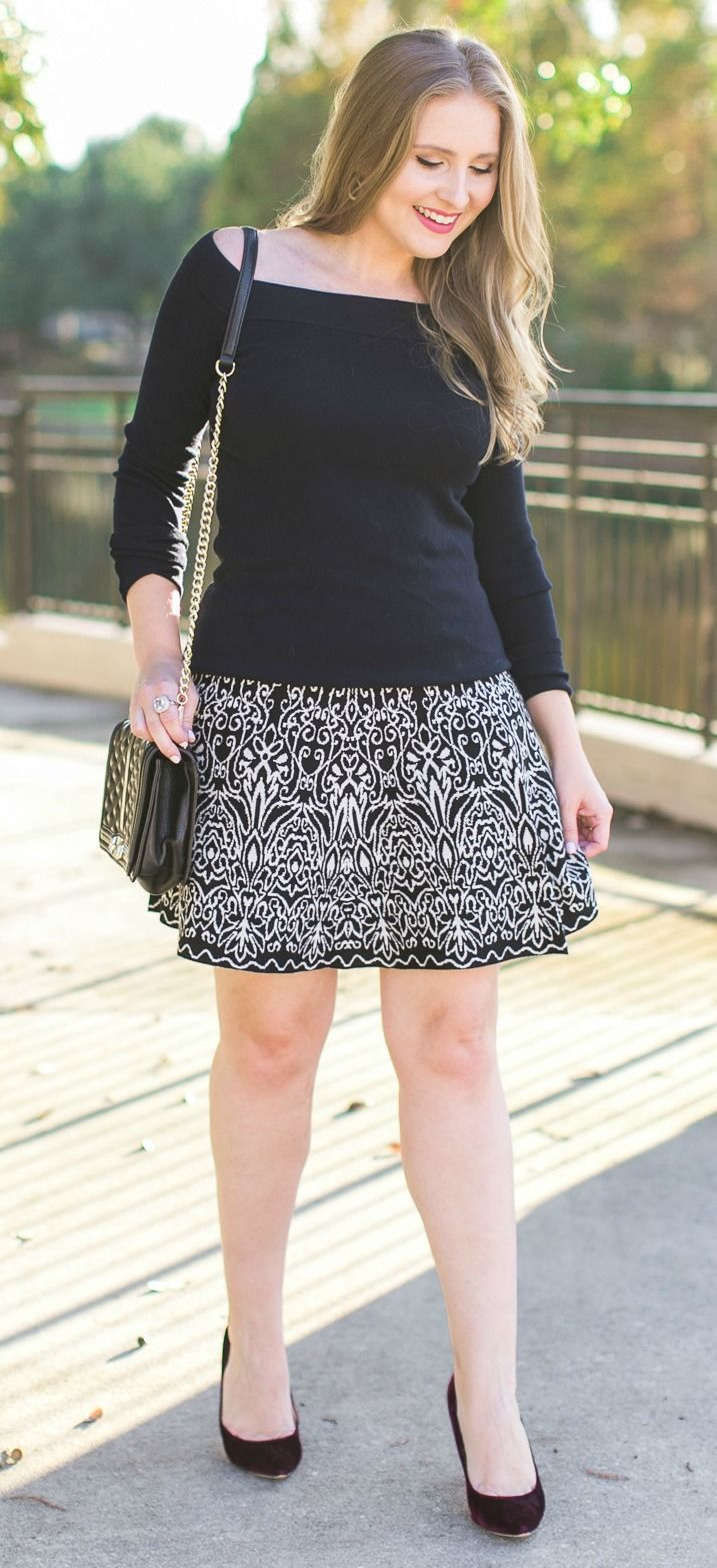 Navy off-the-shoulder sweater, black & white printed skater skirt, the most beau…