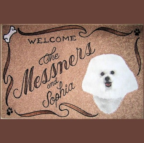 Bichon Frise Personalized Dog Door Mat Airbrush Doormat