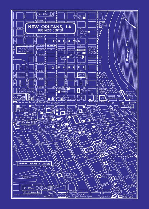 1949 Vintage Map of Downtown New Orleans 20x30 by seashoreprints, $12.95