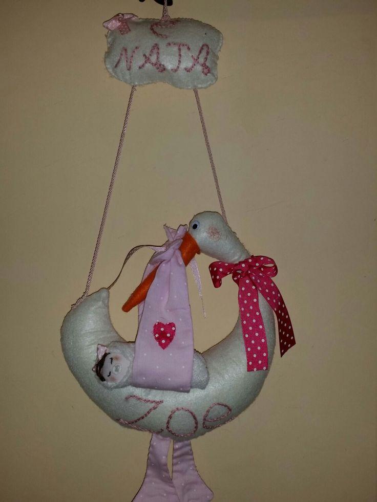 Fiocco nascita #etsy #articoliperlacasa #cuscini #cicogna #fiocconascita #nascita #rosa #pannolencio #bimba #baby#ilcantucciodizenzero http://etsy.me/2jcwieu
