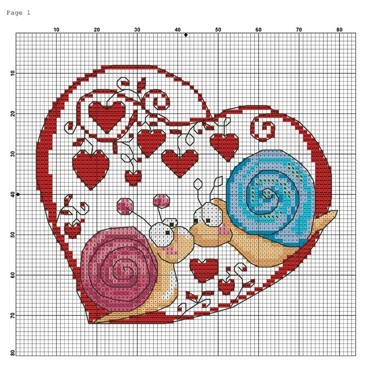 Cross-stitch Snails in Love... no color chart available, just use the pattern chart as your color guide.. or choose your own colors... escargot en coeur . WYBrY4pQHj0.jpg (1335×1356)