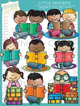 The Little Readers clip art set contains 16 image files, which includes 8 color images and 8 black & white images in png and jpg. All images are 300dpi for better scaling and printing.