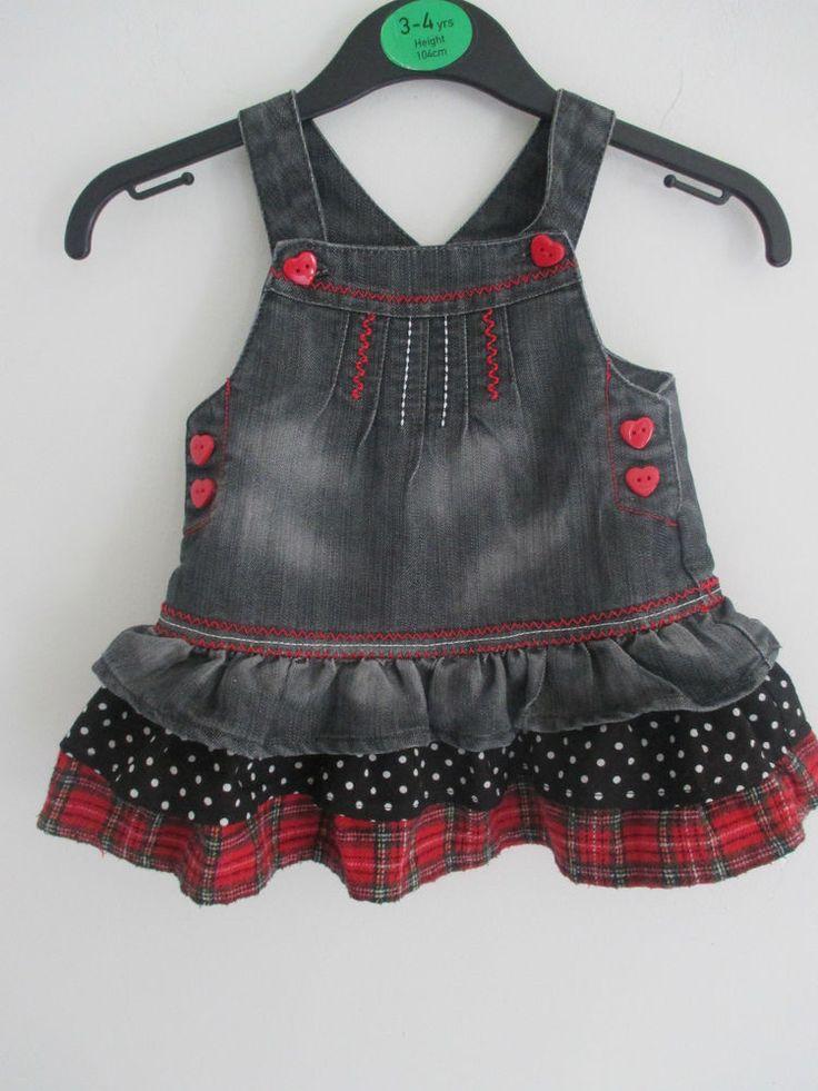 Baby girls vintage style black denim dress with polka dot & tartan trim 0-3 mths