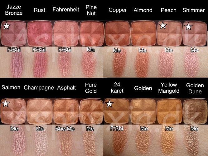 NYX eyeshadow swatches I like rust and copper.