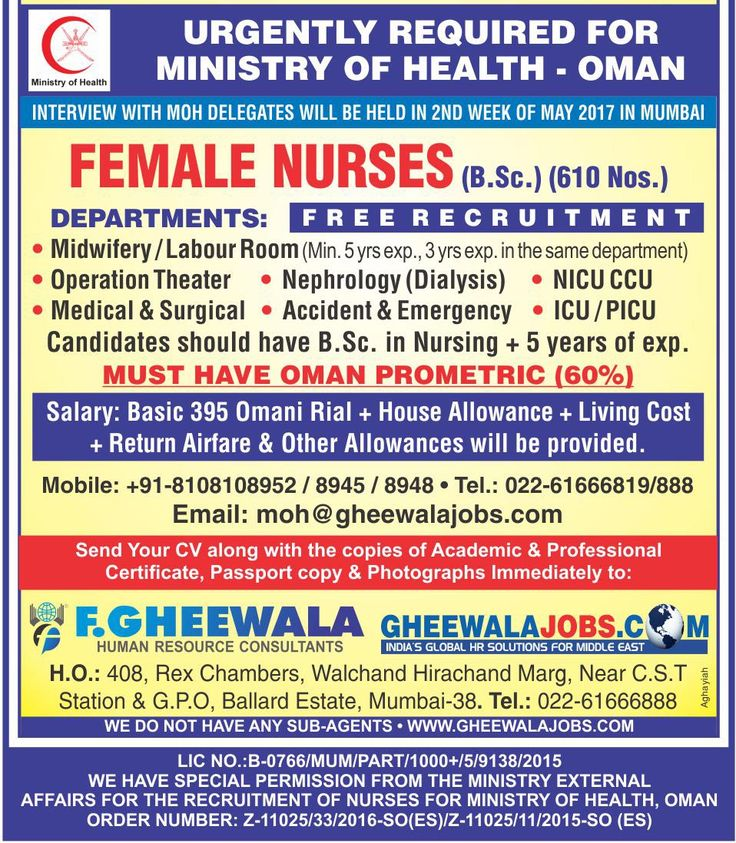 Urgently Required Female Nurses for Ministry of Health Oman