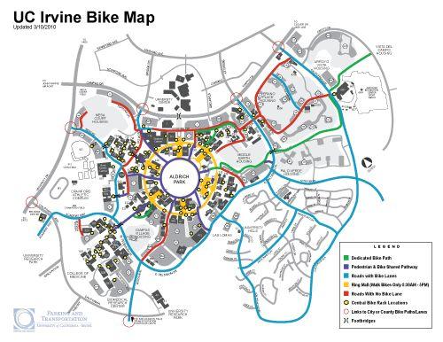 Mendocino College Campus Map.Campus Bike Map University Of California Irvine California