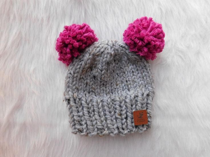 Double Pom pom knit hat. Toddler winter hat. Infant pom pom hats. 2 pom poms hats. Mouse ears hats.Chunky hats by NataliaTreasures on Etsy