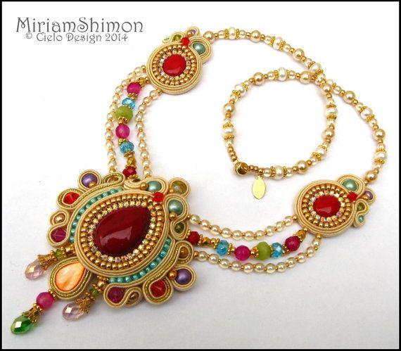 Cream Gold and Multi colored Soutache necklace ♡ by MiriamShimon, $190.00