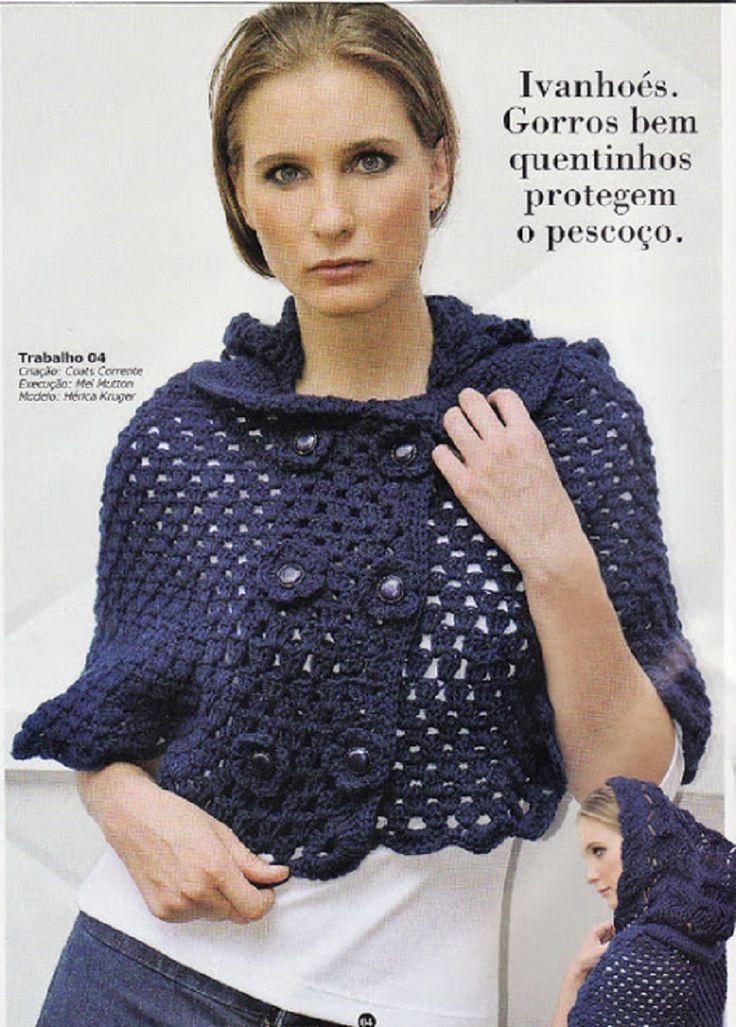 crochelinhasagulhas: Pelerine azul de crochet