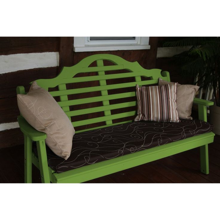 Outdoor A & L Furniture Yellow Pine Marlboro Garden Bench Lime Green - 472-LIME GREEN