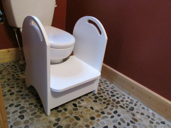Handmade Wood Potty Step Stool White Toilets Hold On