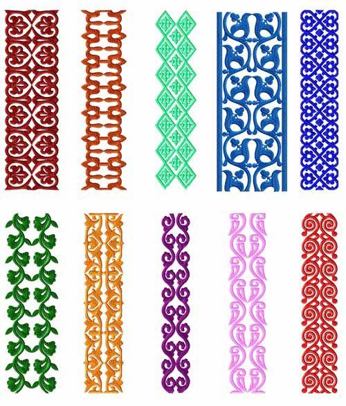 Borders 10 Machine Embroidery Designs set