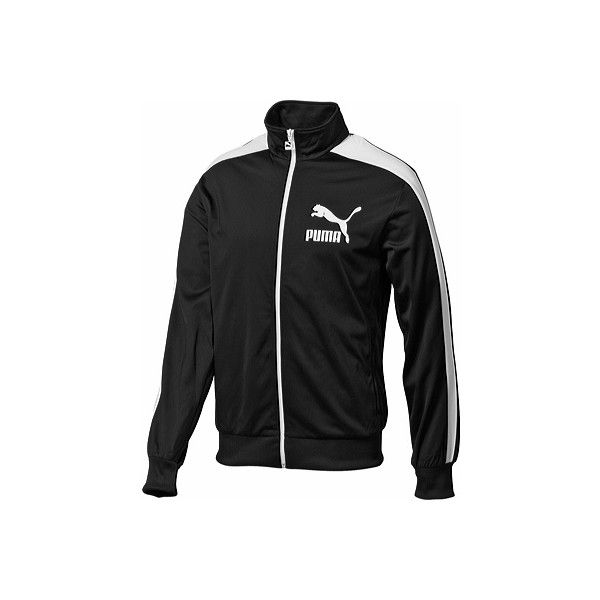 Men's PUMA Heroes T7 Track Jacket 2 - Black/White Athletic Clothing ($30) ❤ liked on Polyvore featuring men's fashion, men's clothing, men's activewear, men's activewear jackets, mens activewear, mens track top and mens track jacket
