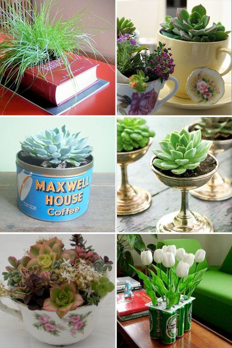 Recycled Planters - Teacups, Pop Bottles, Coffee Cans...   love this site: bohocircus.typepad.com