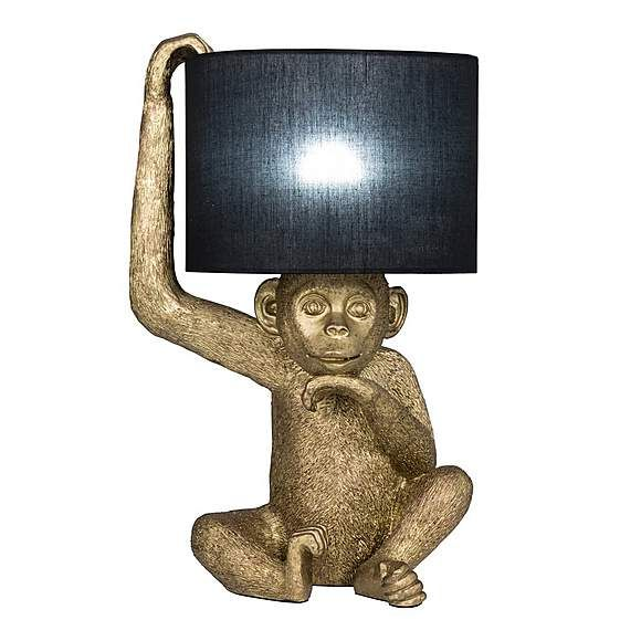 Odisha Resin Monkey Gold Table Lamp