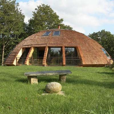 a biconvex, dome-shaped house designed to be eco-friendly and safe.  The entire structure rotates, allowing homeowners to make the most of the sun's warmth for lower utility bills.