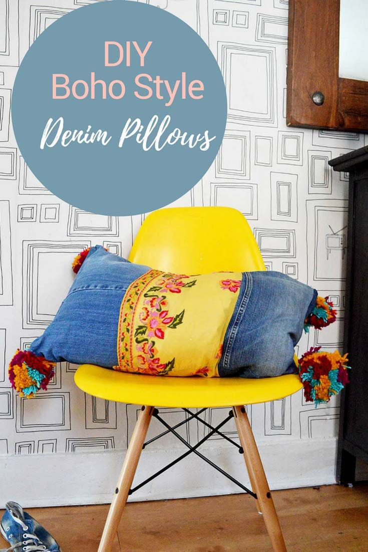 Did you know you can buy vintage sari trim on Amazon? Together with upcycled denim and colorful pom poms you can make some gorgeous boho style recycled jeans pillows for your home.