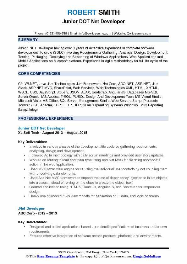 Entry Level Net Developer Resume Sample Resume Template Job Resume Samples Resume Entry Level