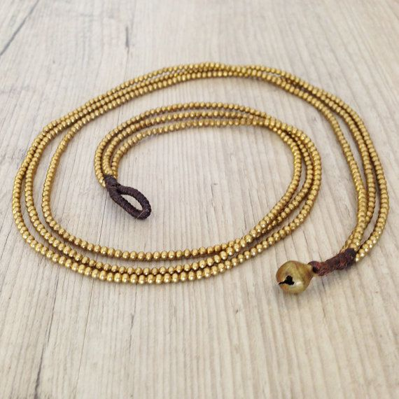 Multistrand Brass Necklace Golden Brass by PiscesAndFishes on Etsy