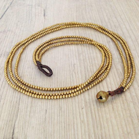 Multistrand Brass Necklace Golden Brass by PiscesAndFishes on Etsy