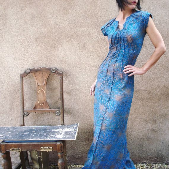 Among My Souvenirs - iheartfink Handmade Hand Printed Art Print Maxi Gown Dress on Etsy, $439.35 CAD