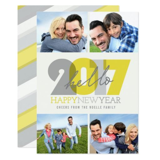 Bold Hello 2017 Happy New Year Photo Collage Card
