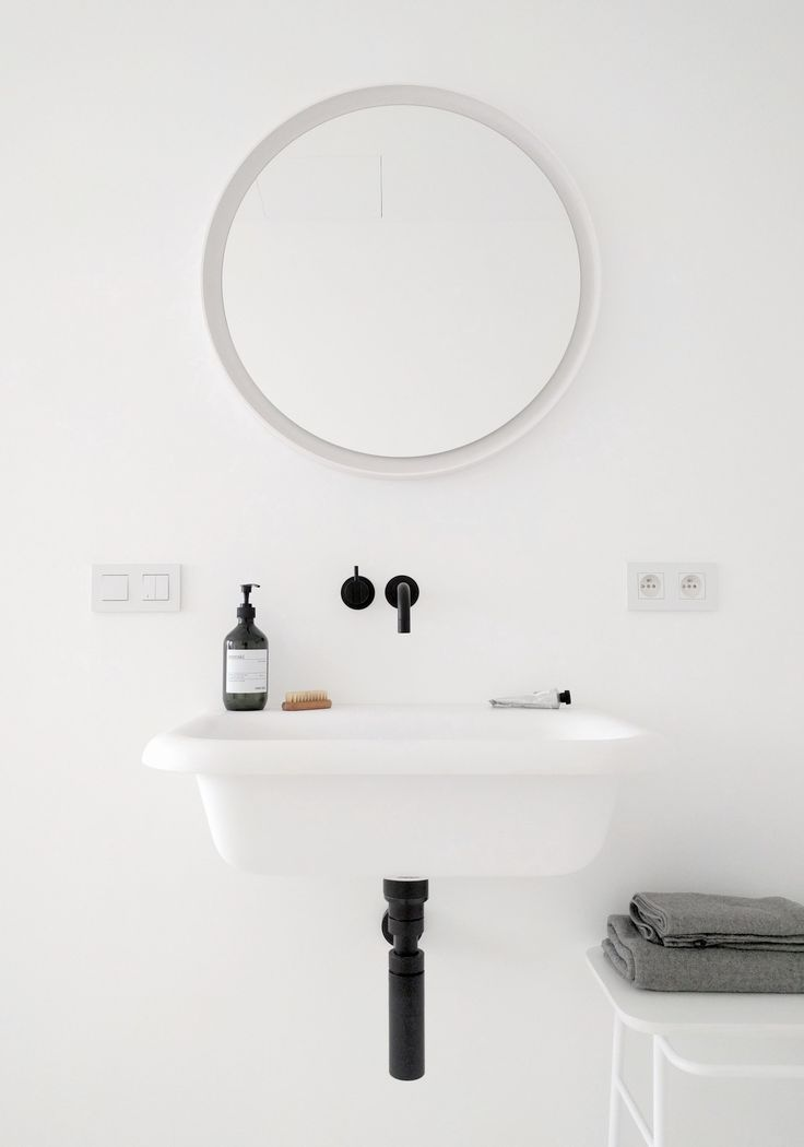 agape ottocento washbasin - mirror memory - vola faucet - black & white bathroom - kontex towel - meraki soap - niko intense - ex-t stool by norm architects