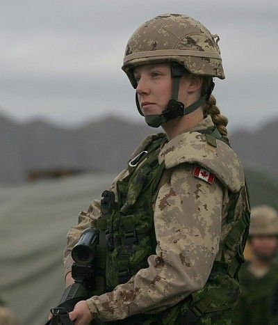 Female Canadian Soldier. --Other pinner says...This isn't my niece, but it could be. She was a combat infantry solier and medic. 5' tall and 100 lbs, at the beginning of a patrol her load-out would be 120 lbs, plus her medical kit and her C7 rifle. She volunteered for 3 tours. Canada, unlike the U.S. has has women serving in combat roles for many years. Af'stan was a long, vicious, dangerous war. Soldiers do not decide where we fight; we owe them all.