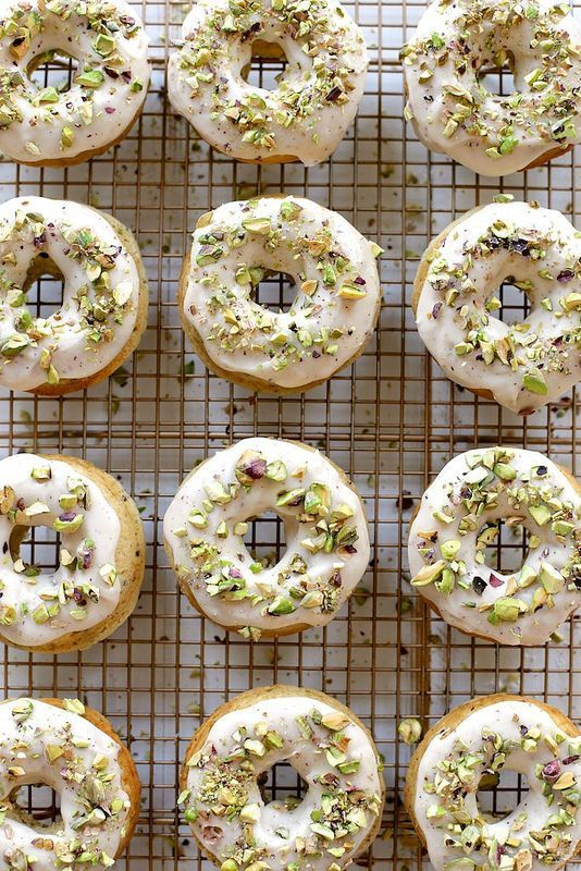 Brown Butter Baked Pistachio Doughnuts /