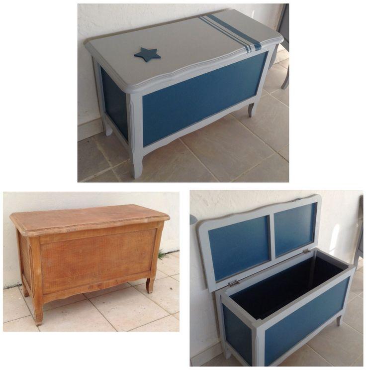 Coffre relooké en gris et bleu