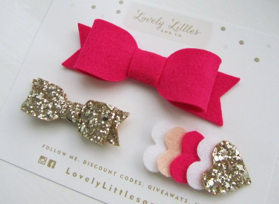 Hey, I found this really awesome Etsy listing at https://www.etsy.com/listing/166392603/girlbaby-hair-bow-clip-set-of-3-hot-pink