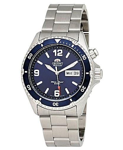 Montre Orient Mako Diver pour homme, modèle classe avec cadran bleu et bracelet argenté.