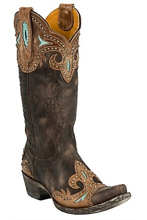 Old Gringo® Ladies Taka Distressed Chocolate Brown w/Turquoise & Studs Snip Toe Boots