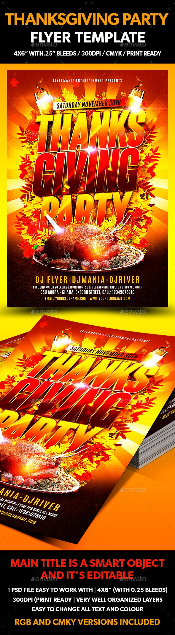 thanksgiving party flyer template thanksgiving parties party flyer and flyer template. Black Bedroom Furniture Sets. Home Design Ideas