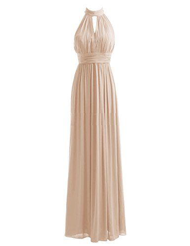 Diyouth High Neck Long Bridesmaid Dresses Slit Prom Evening Gowns Champagne Size 12