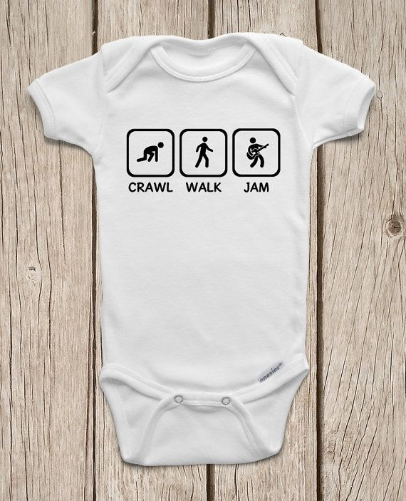 Crawl Walk Jam Guitar ONESIES ® Brand Bodysuits by MamiOrigami