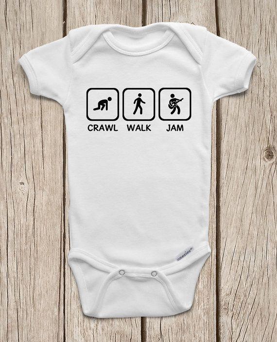 Crawl Walk Jam Guitar ONESIES ® Brand Bodysuits Baby Bodysuit or Baby T-Shirt Rockstar Baby Shirt Rocker Baby Guitar Baby Shower