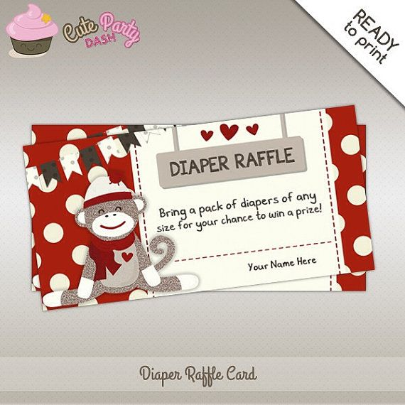 instant download cute sock monkey baby shower diaper raffle insert red sock monkey card