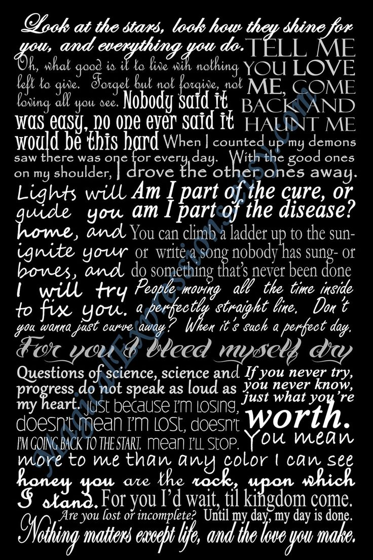 Coldplay Typography Song Lyric Art Print 11 by 14. $30.00, via Etsy.